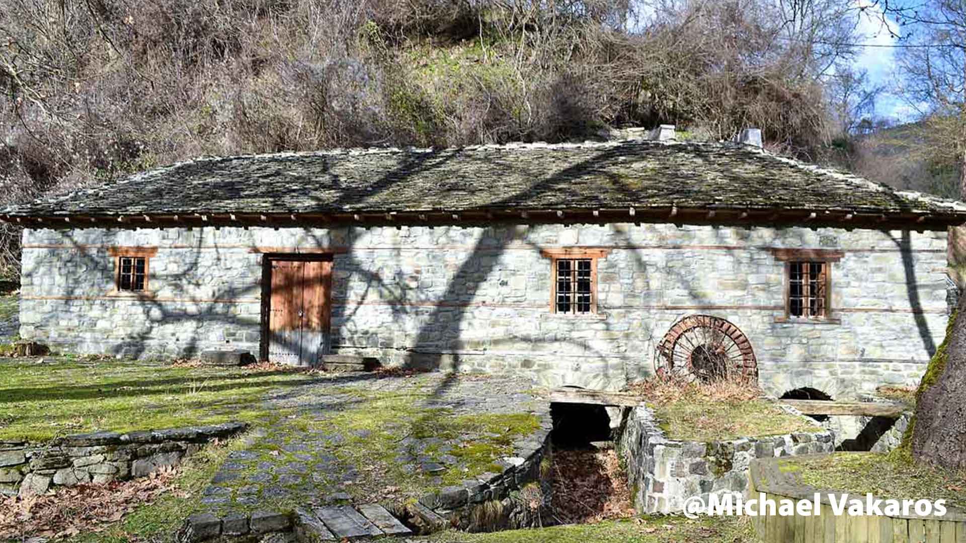 The well-known watermill of Ginas